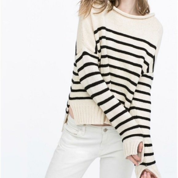 4760faf5 Zara Knit Ivory Black Nautical Stripe Sweater. M_5af9d70085e605d3653207b9